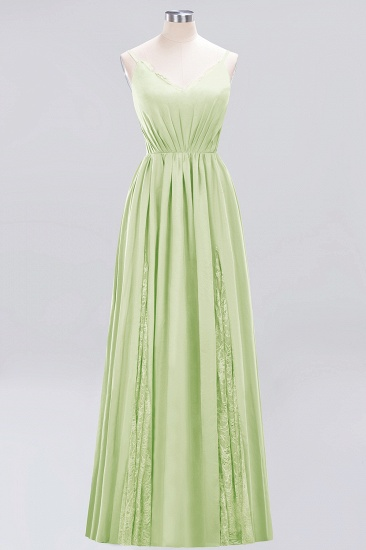 BMbridal Elegant Spaghetti Straps Long Bridesmaid Dress Lace V-Neck Maid of Honor Dress_35