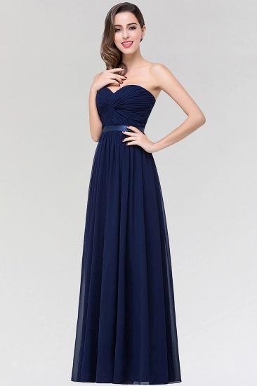 Affordable Sweetheart Ruffle Navy Chiffon Bridesmaid Dress With Ribbon_5