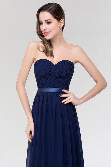 Affordable Sweetheart Ruffle Navy Chiffon Bridesmaid Dress With Ribbon_7