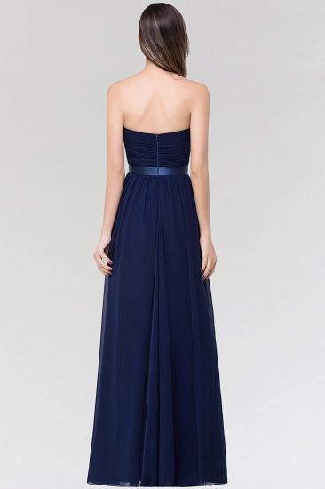 Affordable Sweetheart Ruffle Navy Chiffon Bridesmaid Dress With Ribbon_3