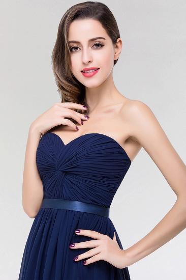Affordable Sweetheart Ruffle Navy Chiffon Bridesmaid Dress With Ribbon_6