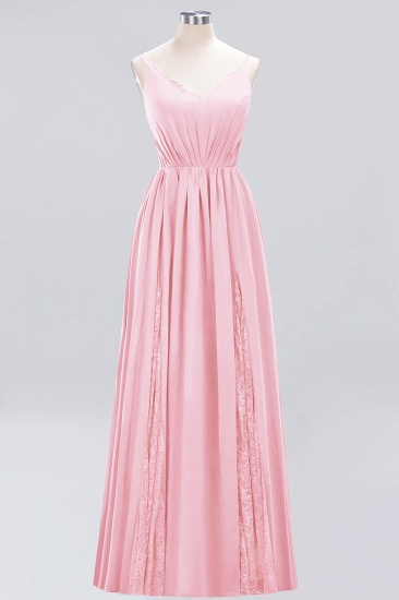BMbridal Elegant Spaghetti Straps Long Bridesmaid Dress Lace V-Neck Maid of Honor Dress_4