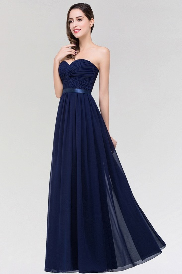 Affordable Sweetheart Ruffle Navy Chiffon Bridesmaid Dress With Ribbon_4
