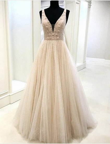 Sexy V-Neck Sleeveless Tulle Prom Dress Long Evening Gowns Online_1
