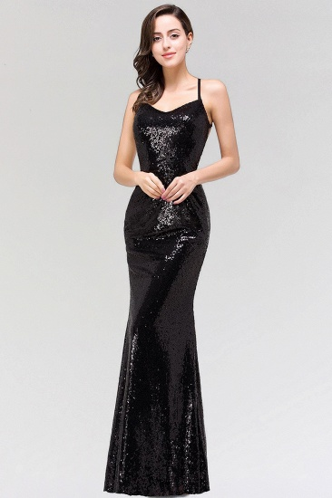 Elegant Mermaid Sequined Long Black Bridesmaid Dress with Spaghetti Straps_1