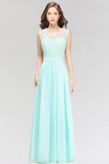Elegant Lace Jewel Sleeveless Chiffon Bridesmaid Dresses Cheap_1