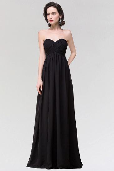 Sexy Strapless Sweetheart Long Black Chiffon Bridesmaid Dress with Ruffles_1