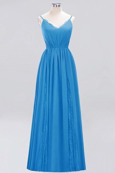 BMbridal Elegant Spaghetti Straps Long Bridesmaid Dress Lace V-Neck Maid of Honor Dress_25