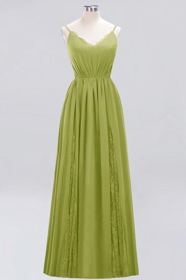 BMbridal Elegant Spaghetti Straps Long Bridesmaid Dress Lace V-Neck Maid of Honor Dress_34