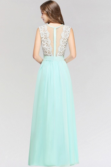 Elegant Lace Jewel Sleeveless Chiffon Bridesmaid Dresses Cheap_3