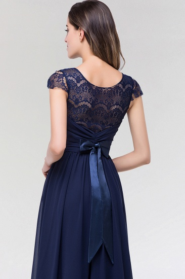 Elegant Lace Scoop Sleeveless Navy Bridesmaid Dress with Buttons_8