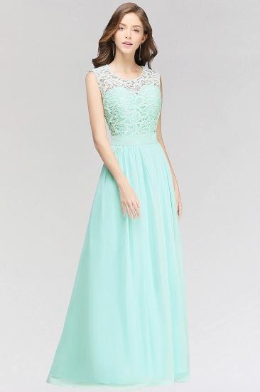 Elegant Lace Jewel Sleeveless Chiffon Bridesmaid Dresses Cheap_4