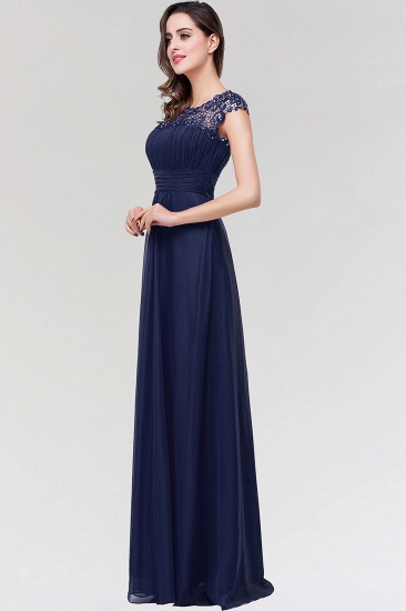 Elegant Chiffon Pleated Navy Lace Bridesmaid Dress with Keyhole Back_4