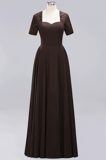 BMbridal Dark Navy Open-Back Long Bridesmaid Dress With Short Sleeves_11