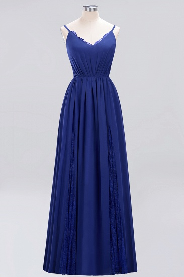 BMbridal Elegant Spaghetti Straps Long Bridesmaid Dress Lace V-Neck Maid of Honor Dress_26