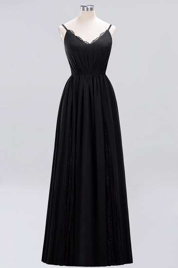 Elegant Spaghetti Straps Long Bridesmaid Dress Lace V-Neck Maid of Honor Dress_29