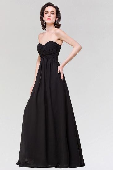 Sexy Strapless Sweetheart Long Black Chiffon Bridesmaid Dress with Ruffles_4