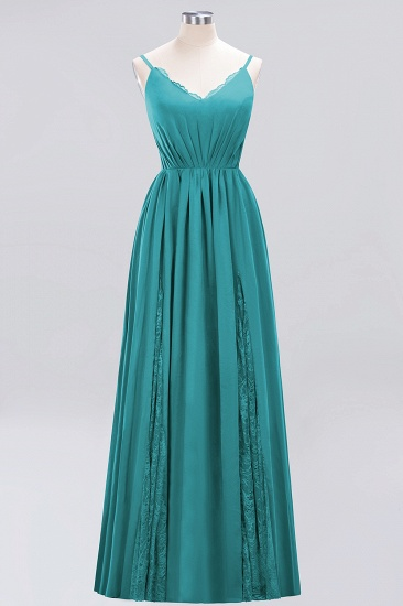 Elegant Spaghetti Straps Long Bridesmaid Dress Lace V-Neck Maid of Honor Dress_32