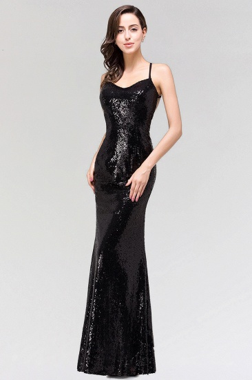 Elegant Mermaid Sequined Long Black Bridesmaid Dress with Spaghetti Straps_4