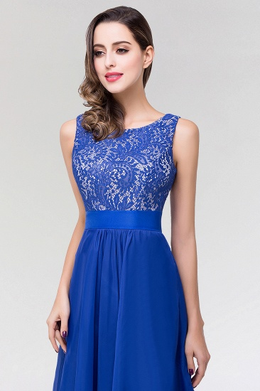 Elegant Lace Jewel Long Chiffon Bridesmaid Dress with Asymmetric Hemline_7