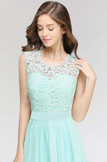 Elegant Lace Jewel Sleeveless Chiffon Bridesmaid Dresses Cheap_6