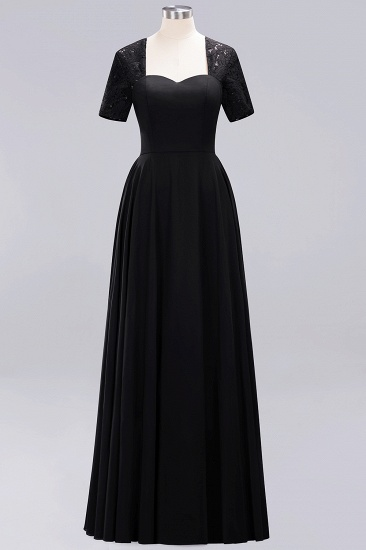BMbridal Dark Navy Open-Back Long Bridesmaid Dress With Short Sleeves_29