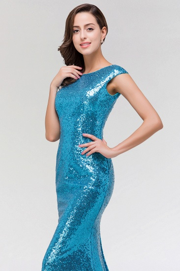 Shinny Sequined Long Mermaid Blue Affordable Bridesmaid Dress_6