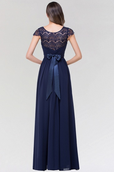 Elegant Lace Scoop Sleeveless Navy Bridesmaid Dress with Buttons_3