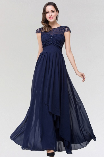Elegant Lace Scoop Sleeveless Navy Bridesmaid Dress with Buttons_1