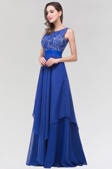 Elegant Lace Jewel Long Chiffon Bridesmaid Dress with Asymmetric Hemline_4