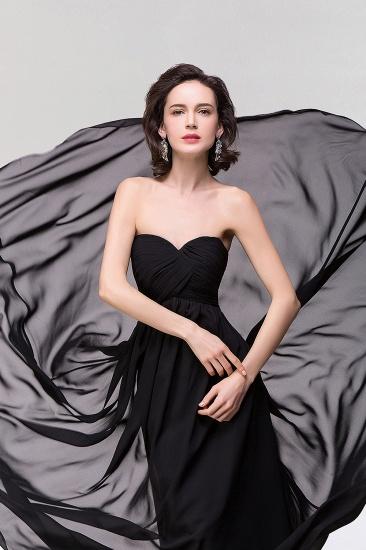 Sexy Strapless Sweetheart Long Black Chiffon Bridesmaid Dress with Ruffles_5