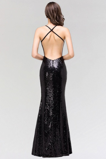 Elegant Mermaid Sequined Long Black Bridesmaid Dress with Spaghetti Straps_3