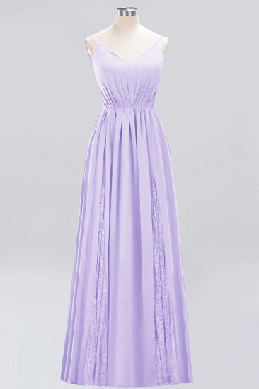 BMbridal Elegant Spaghetti Straps Long Bridesmaid Dress Lace V-Neck Maid of Honor Dress_21