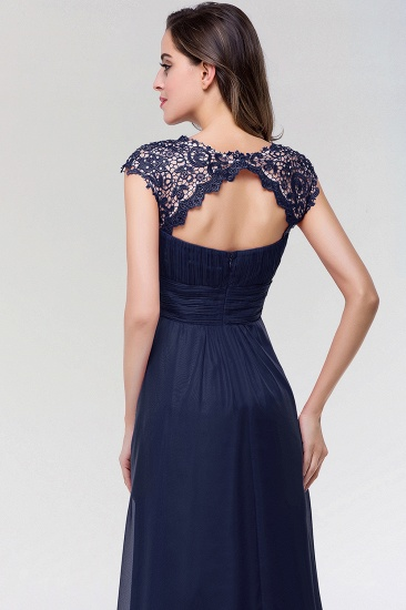 Elegant Chiffon Pleated Navy Lace Bridesmaid Dress with Keyhole Back_6