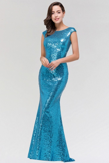 Shinny Sequined Long Mermaid Blue Affordable Bridesmaid Dress_5