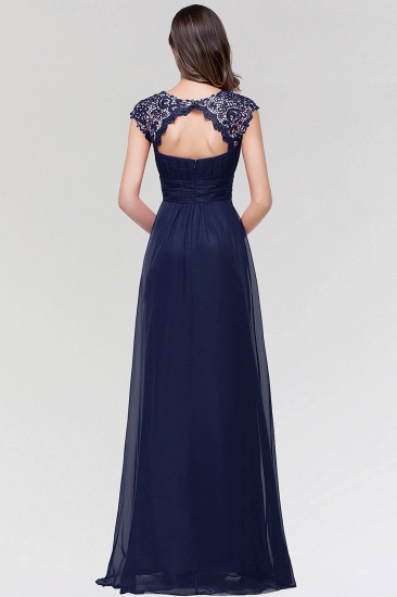 Elegant Chiffon Pleated Navy Lace Bridesmaid Dress with Keyhole Back_3