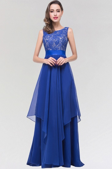 Elegant Lace Jewel Long Chiffon Bridesmaid Dress with Asymmetric Hemline_1