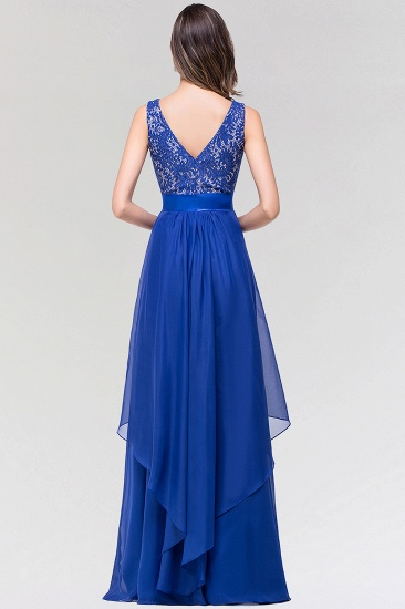 Elegant Lace Jewel Long Chiffon Bridesmaid Dress with Asymmetric Hemline_3