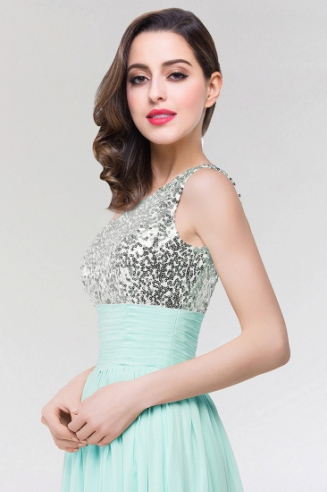 Sparkly One-shoulder Ruffle Long Bridesmaid Dresses with Sequined Top_5