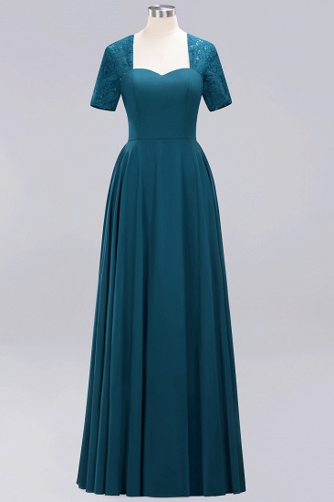 BMbridal Dark Navy Open-Back Long Bridesmaid Dress With Short Sleeves_27