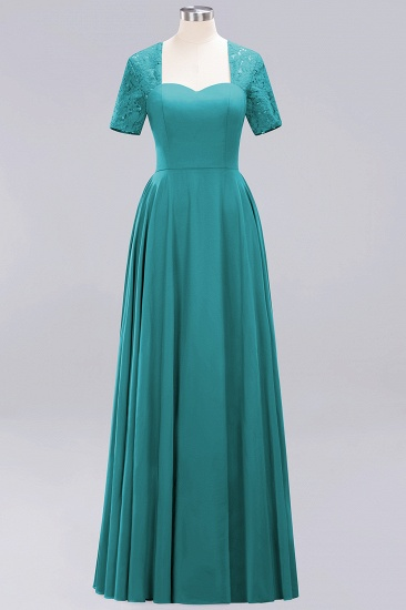 BMbridal Dark Navy Open-Back Long Bridesmaid Dress With Short Sleeves_32
