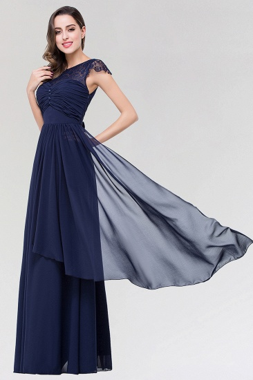 Elegant Lace Scoop Sleeveless Navy Bridesmaid Dress with Buttons_4