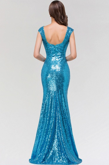 Shinny Sequined Long Mermaid Blue Affordable Bridesmaid Dress_3