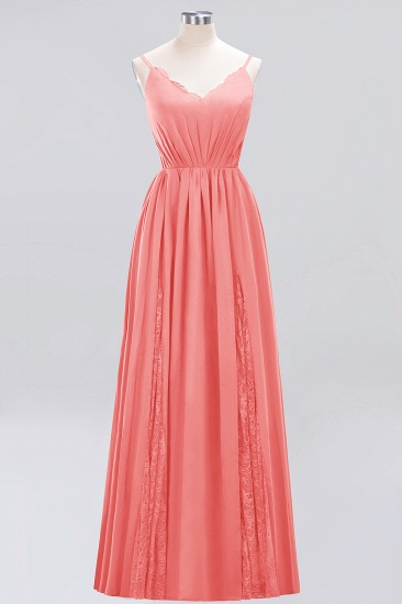 BMbridal Elegant Spaghetti Straps Long Bridesmaid Dress Lace V-Neck Maid of Honor Dress_7