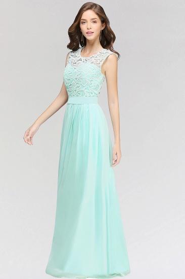 Elegant Lace Jewel Sleeveless Chiffon Bridesmaid Dresses Cheap_5