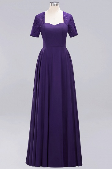 BMbridal Dark Navy Open-Back Long Bridesmaid Dress With Short Sleeves_19