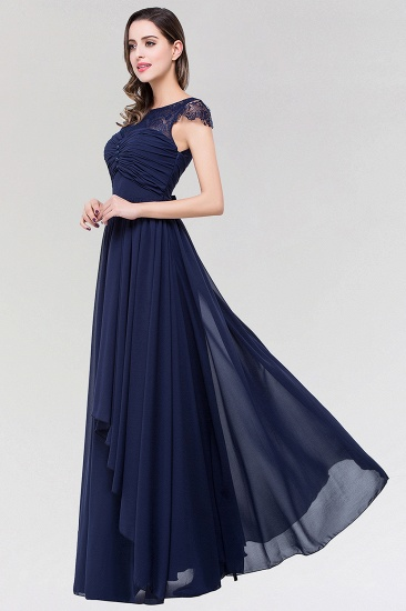 Elegant Lace Scoop Sleeveless Navy Bridesmaid Dress with Buttons_5