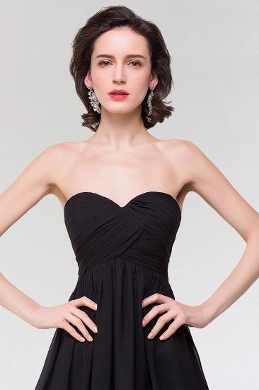 Sexy Strapless Sweetheart Long Black Chiffon Bridesmaid Dress with Ruffles_6