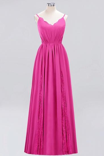 BMbridal Elegant Spaghetti Straps Long Bridesmaid Dress Lace V-Neck Maid of Honor Dress_9