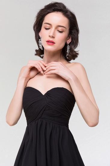 Sexy Strapless Sweetheart Long Black Chiffon Bridesmaid Dress with Ruffles_7